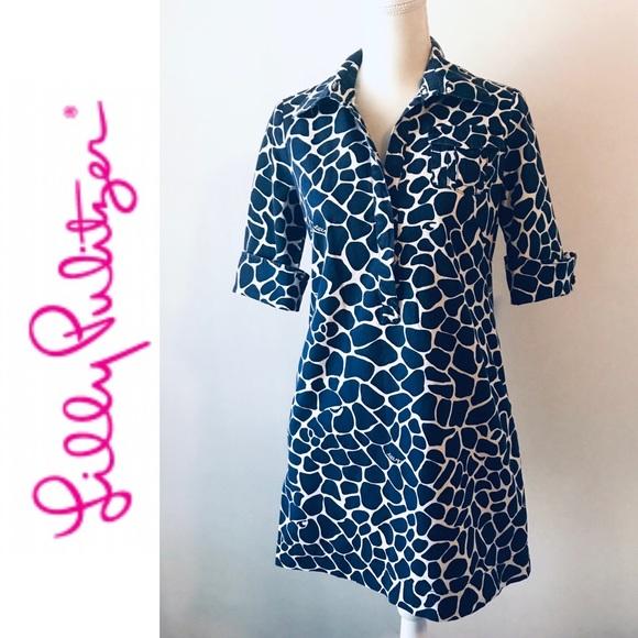 ca5ba75ed36 Lilly Pulitzer Dresses   Skirts - LILLY PULITZER    Navy Giraffe Print  Shirt Dress